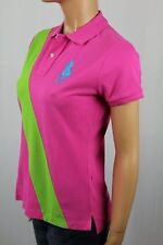 Ralph Lauren Pink SKINNY Fit Polo Green Sash Big Blue Pony L