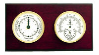 """WEATHER STATIONS - """"CAPE MAY"""" TIDE CLOCK AND THERMOMETER & HYGROMETER - MAHOGANY"""