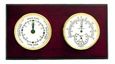 """WEATHER STATIONS - """"CAPE MAY"""" TIDE CLOCK & THERMOMETER / HYGROMETER - MAHOGANY"""