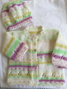 * New Born Plus * 2 Piece Baby Jacket Set * Multicoloured * Aust Hand Knitted *