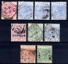 CYPRUS QV USED SELECTION, 9 STAMPS