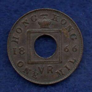 Hong Kong, 1866 1 Mil, Better Grade (Ref. c8349)