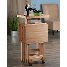 Natural Wood TV Tray Table Set with Stand Serving Portable Folding Furniture