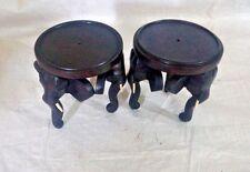 "2 Pcs Mini 4"" Wooden Elephant TABLE Flower pot stand Vase Handmade Home Decor"