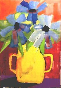 Bright FLOWERS Painting Original SWARTZMILLER DNA SIGNED OUTSIDER Cardboard ART