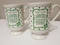 Vintage Irish Coffee Set of 2 Mugs White Green Shamrock Whiskey Recipe Glasses