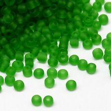 Lot de 30g Perles de Rocaille en Verre Givré Transparent Limegreen 2mm (12/0)