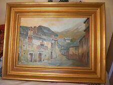 ORIGINALE dipinto ad olio in magnifica cornice. J. rodiles. STREET SCENE con Mountain