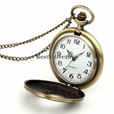 Vintage Bronze Roman Numeral Round Dial Pocket Watch Pendant Womens Men Necklace
