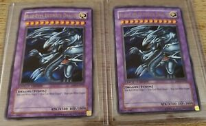(2) Yugioh Blue Eyes Ultimate Dragon JMP-EN005 Limited Edition Gold Letter Foil