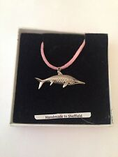 Ichthyosaurus PJ/IP Pewter Pendant on a Pink Cord Necklace