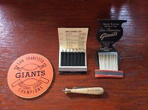 San Francisco Giants 1962 matchbook schedule coaster pocket knife
