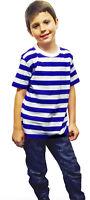 New Children's Kids Boys Girls Blue White Striped T-shirt Casual Summer Top