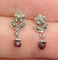 Vintage Sterling Silver Marcasite & Garnet Floral Dangle Post Pierced Earrings