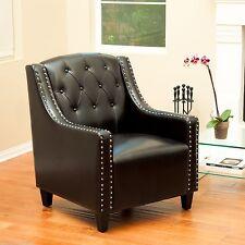 Coogee Black Leather ArmChair & Footstool Set  Lounge Arm Tub Chair Sofa