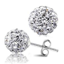 925 Sterling Silver Shamballa Ball Stud Earrings 6 mm Crystal Glitter Disco