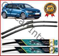 """VW POLO 6R 2009+ ANTERIORE COPPIA PIATTI AERO Wiper Blades 24"""" 16"""" SERIE D 3/5 PORTE"""