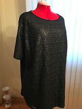 NWT Marina Rinaldi short raglan sleeves boat neck lace front tunic in black L/2X