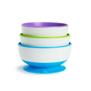 Baby Feeding Bowls Stay Put Suction 3 Pack Non-Spill Munchkin 6m+
