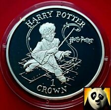 Rare 2001 ISLE OF MAN 1 One Crown Harry Potter Magic Wand Silver Proof Coin