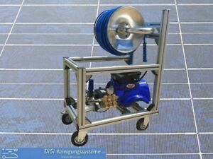 Hochdruckreiniger Alu-Käfig Fahrwagen VA Trommel 230V Mazzoni 150bar 11l/min