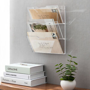 3-Tier Premium Clear Acrylic Wall Mounted Mail Holder Sorter Document Rack