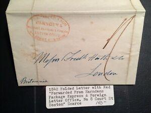 United States confederate stamp 1842 Letter Boston Court Foreign v.v. RARE