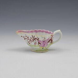 Bow Porcelain Fluted Cream Boat Chinoiserie / Mandarin Pattern c.1765