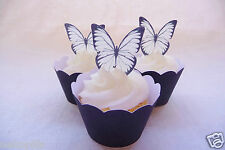 #314. 36 x Black & White Butterfly edible cupcake cake toppers wafer wedding