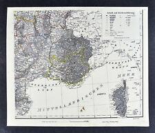 1847 Flemming Map South France Corsica Marseille Toulon Lyon Montpellier Arles