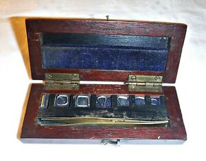RARE ANTIQUE WOODEN BOX OF TINY WEIGHTS & TWEEZERS BY S GARCIA LTS LONDON