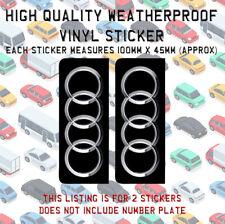 2 Audi Logo Number Plate Vinyl Sticker Stick On TT R8 RS A1 A3 A4 A5 A6 A7 N058