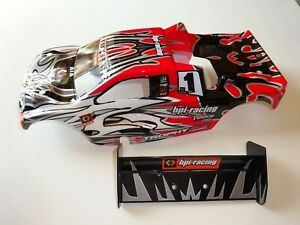 NITRO 1/8 RC TRUGGY HPI TROPHY 4.6 BODYSHELL AND REAR WING NEW 101780