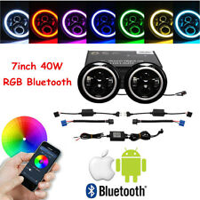 2X 7inch 40W RGB Halo Ring Bluetooth APP CREE LED Headlight for Jeep Wrangler JK