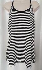 K by Kersh Women's Tank Top Black/ White striped  Sleeveless Size XL
