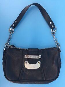 Guess Purse Shoulder Handbag Black Small To Medium Size Zip And Strap Closure