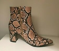 Botines mujer piel estampado serpiente con tacón, botas mujer estampado animal