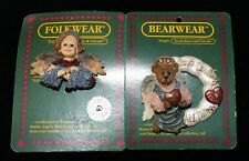2 Boyds Bearware Pins Love Conquers All Things & Keys to Your Heart