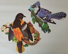 2 Vintage Dennison Die Cut Birds Blue Jay Oriole Wall Decoration