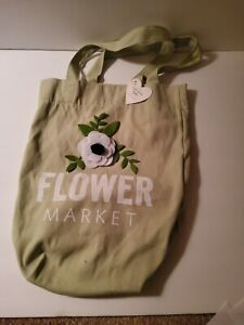Canvas tote Green with felted flower applique new