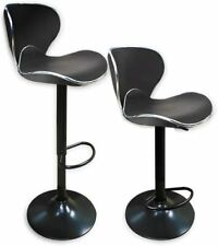 Refurbished Black Curved Seat Set of 2 Bar Stools with Footrest and Metal Base