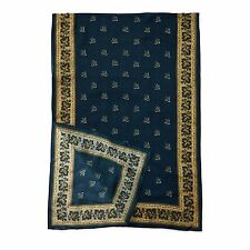 $295 RRL Ralph Lauren Made in Japan Long Indigo Print Wool Bandana Scarf-MEN