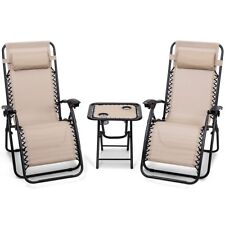 Reclining Lounge Chairs Table Portable 3 Piece Folding Zero Gravity Beige Camp