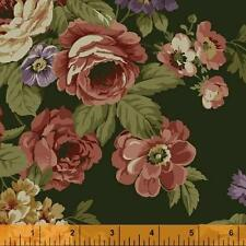 Windham Kensington FLANNEL Green Peach Pink Gold Floral Rose Quilt Fabric Yard