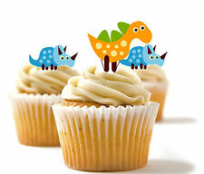 ✿ 24 Edible Rice Paper Cup Cake Toppings, decorations - Dinosaurs ✿