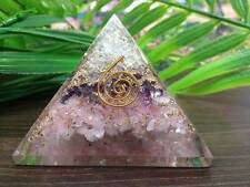 Layer Crystal Quartz Amethyst & Rose Quartz Orgone Pyramids ~ ORG13