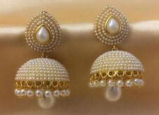 UK SELLER Indian Bollywood Style Gold Tone Jhumka Jhumki Pearl Bali Earring