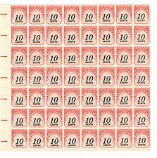 #J97 10¢ Postage Due Large block of 56 mint Nh Og