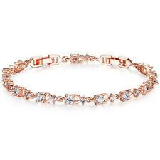 Fashion woman exquisite white round zircon rose gold bracelet jewelry gift