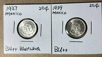 1937 1939 Mexico 20 Centavos Lot of 2 Silver Coin BU++
